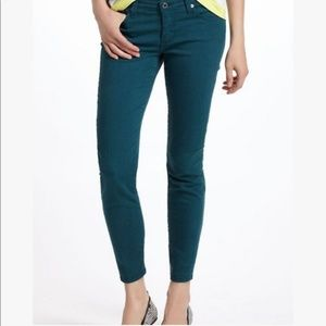 AG Adriano Goldschmied Green Stevie Ankle Jeans